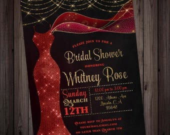 Ruby Red Dress Bridal Shower Invitation, red and gold fairy lights shower printable invitation, glitter glam print at home digital file