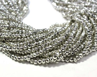 """AAA quality silver pyrite faceted rondelle loose gemstone beads 13.5""""inch strand pyrite faceted beads necklace"""