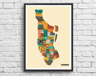 Art-Poster - 50 x 70 cm - Manhattan Neighborhoods map New-York City