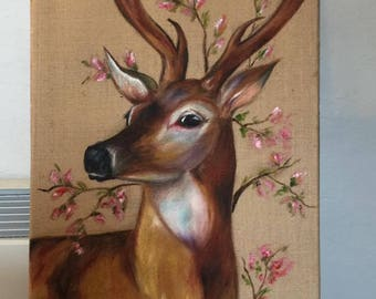 """Original Oil Painting """"Red Bud Prince"""" is a 18"""" x 24"""" oil painting on burlap"""