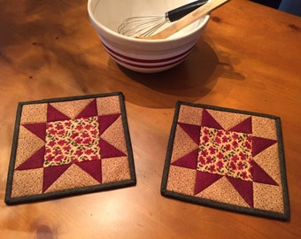 Star Potholders / Kitchen Pot Holders / Quilted Potholders / Country Decor / Handmade / Item #1779