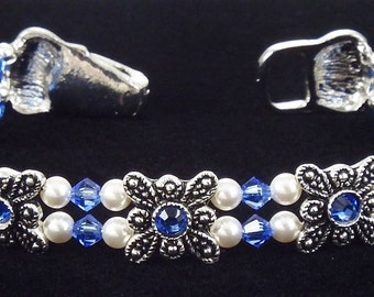 Sapphire Butterfly Crystal Bracelet made with Swarovski Crystals and a magnetic clasp