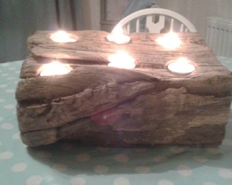 Oak drift wood tea light holder
