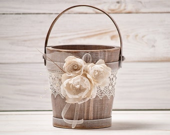 Rustic Flower Girl Basket Wedding Flower Basket Flower Girl Basket Wood Flower Basket Flower Girl Bucket Ivory and Burlap Wedding