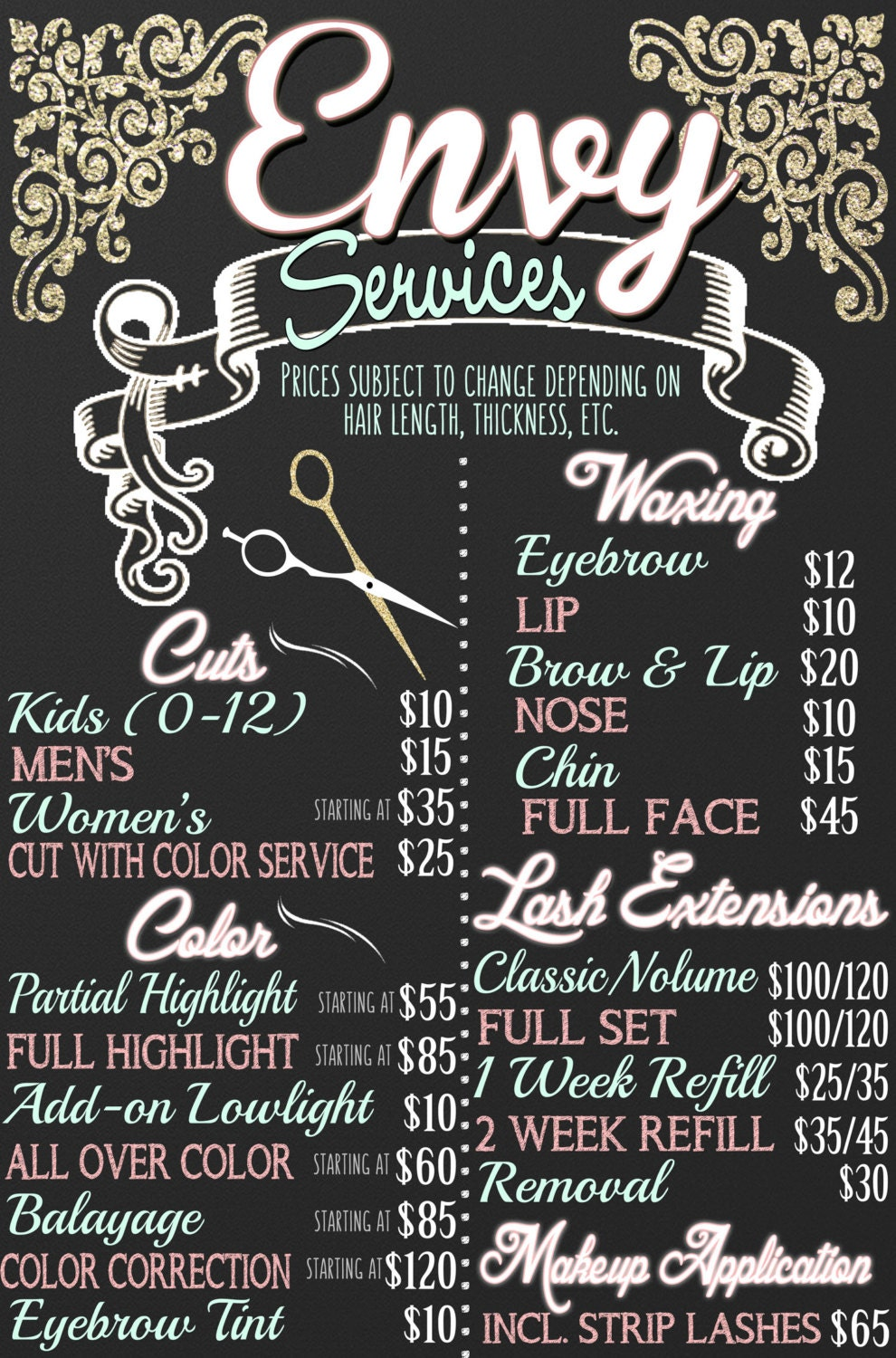 Beauty Salon Menu Lash Extension Sign Haircut Sign Hair Salon