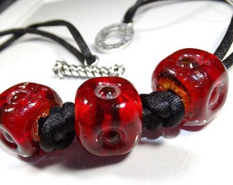 Cubes of Red Necklace