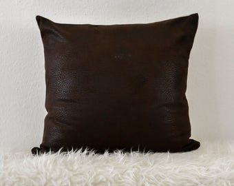 Coffee Brown Faux Leather Pillow Cover