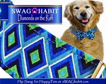 "Ready to Ship, 1 1/2"" Dog Collar, Metal Buckle, Bow Tie INCLUDED, Summer, Blue Green, Diamond, Modern, Geometric, Lightweight Dog Collar"