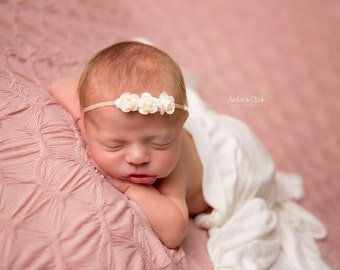 CREAM TINY ROSE Headband,Cream Headband,Headband and Bloomer Set,Newborn Photo Shoot,Baby Shower Gift,Photography Prop,