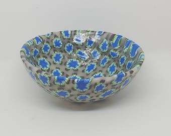 Handmade Medium and Large Ring and Trinket Bowls with Various Blue Flowers