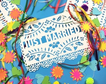 Just Married Sign, Papel Picado Banner, Wedding Banner, Wedding Sign, Mexican Wedding Decor, Destination Wedding, Beach Wedding, Photo Prop