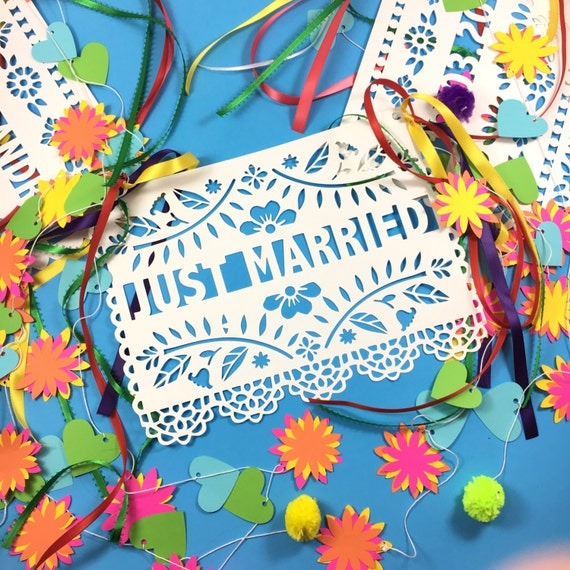 Just married sign papel picado banner wedding banner for Just married dekoration