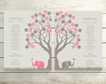 Twins Baby Gift | Twins Girls Christening Prints | Gift From Godfather | Twins Baby Girls Gift | Twins Girls Baptism Gift Idea - 50877