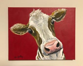 Cow art, cow prints, Canvas Cow Art Print. Canvas Cow decor from original cow canvas painting. Cow art, cow art prints, cow prints