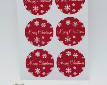 Merry Christmas Stickers - Xmas, Christmas - Envelope seals, gift tag, giftwrapping, card making