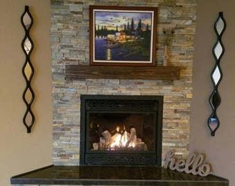 Fireplace mantel Rugged Wood MantelFloating shelfFireplace