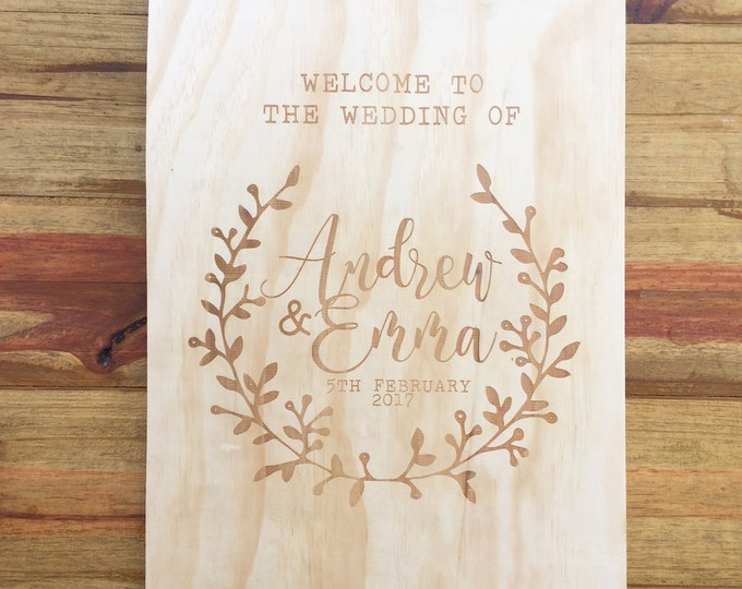 Wedding Welcome Sign. Large Wedding Signs. Laser engraved wedding signs.