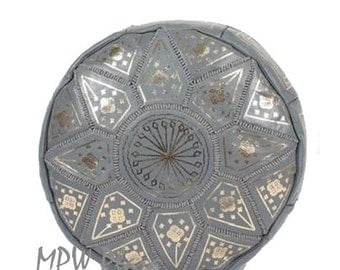 Golden Fez Moroccan Leather Pouf/Ottoman