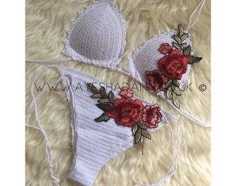 Handmade White Embroidered Rose Bra and Bottoms Bikini Set (Style W2)