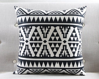 Decorative pillow cover/Geometric cushion cover/ black white pillow throw/pillow sham