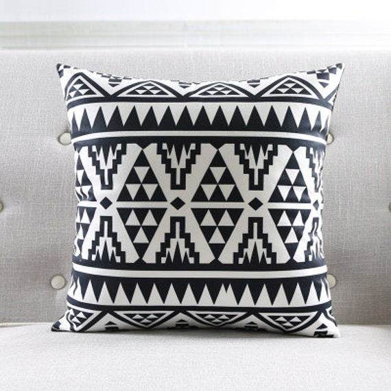 Items similar to Decorative pillow cover/Geometric cushion cover/ black white pillow throw ...