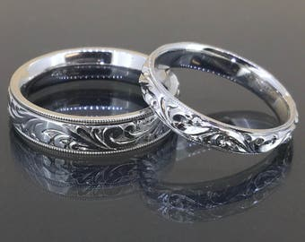 antique 14k white gold his her victorian engraved comfort ft wedding rings bands - His Hers Wedding Rings