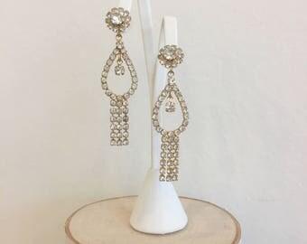 Vintage Mid-Century Gold Tone and Crystal Rhinestone Dangle/Drop Earrings