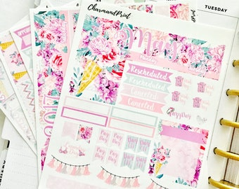 May Monthly Kit / Sticker Kit  / Monthly Spread for use in the Classic Happy Planner / Sweet Blooms