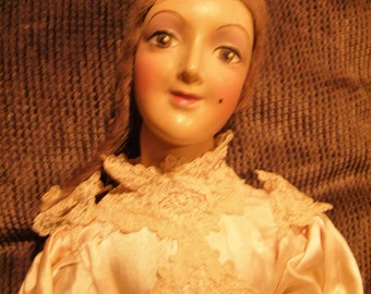 Beautiful 1930s Boudoir Doll / Bed Doll – Jointed Neck - Looks Like an Anita Doll