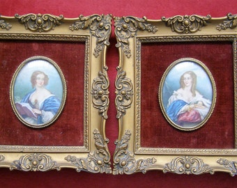 Two Cameo Creation Framed Portraits of Edwardian Countess Cowper and Lady Cynthia Capel - 1930s