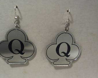 Queen of clubs laser cut mirrored acrylic swinger lifestyle earrings