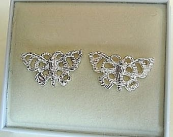 Butterfly Sterling Silver Or 9ct Gold Studs Earrings