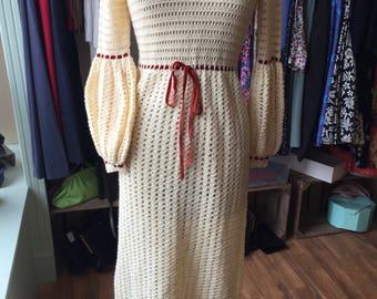 1970s hand crochet cream wool maxi dress