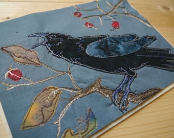 printed pattern for Winter Crow raw edge applique tutorial free motion embroidery