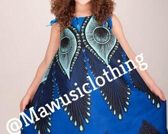 NEW African Print Ankara Sundress - Ankara Royal Blue Sundress, Girls Sundress,Ankara Dress,Kids Anakra Dress, Children Tribal Print Dress