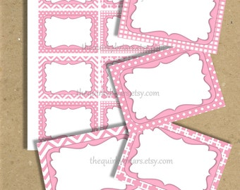 Baby Pink Label Cards / White Polka Dots / Chevron / Gingham / Squares / Blank Cards / DIY Buffet Labels / Printable PDF Instant Download