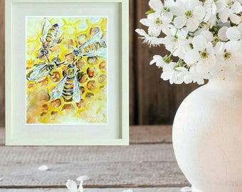 Honey Bees, original watercolor painting, kitchen wall art nursery wall art, bees art, gift for Mother, Mother's day gift, beehive art