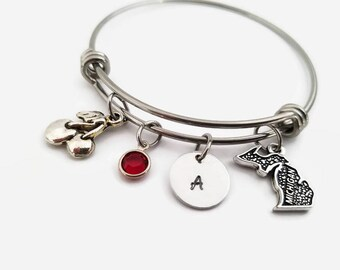 Michigan bracelet  - Michigan charm bangle - Adjustable personalized bangle - Michigan cherry - Gift for Michigan traveler - I love michigan