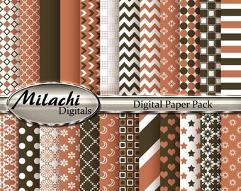 60% OFF SALE Orange Salmon and Mocha Digital Paper Pack, Scrapbook Papers, Commercial Use - Instant Download - M91