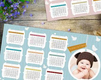 baby photo calendar with birds for girl and boy, illustrated ONE PAGE calendar 2017, printable calendar, kids calendar, nursery decor