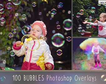 100 Bubbles Photoshop Overlays, Soap Bubbles Overlay, PNG Bubbles, Realistic Soap  bubble Photo effect, digital bacdrop, bubble backdrop