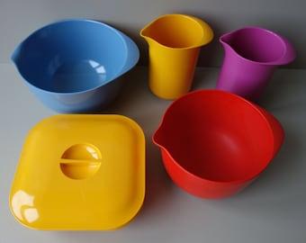 Lot of 5 vintage Rosti Mepal melamine items bowls storage box pitchers jugs 1970s Danish Dutch design seventies plastic