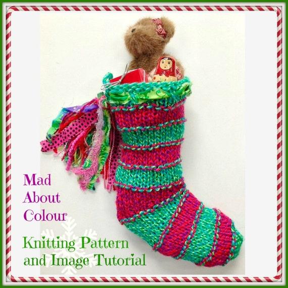 Striped Christmas Stocking Knitting Pattern : Christmas Stocking KNiTTING PaTTERN Stripe Xmas Sock PDF