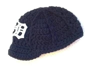 Detroit TIGERS Newborn Crochet Baseball Cap NAVY - Photographer Prop