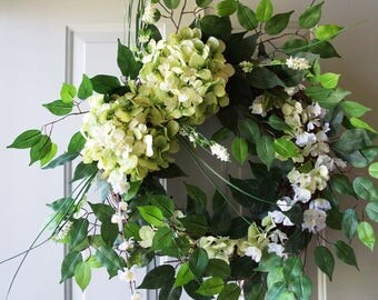 Summer Decor Wreath, Ficus Hydrangea Dogwood Green Wreath, Large Wreath