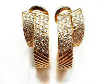 Rare Vintage 80s Van Cleef and Arpels Diamond 18k Gold Large Hoop Earrings