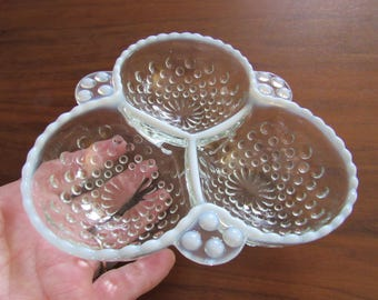 Fenton Clear and White Opaque Hobnail Glass Divided Tray