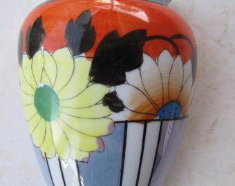 Vintage Lusterware Handpainted Floral Wall Pocket Stamped H