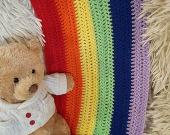 Rainbow Baby blanket/Crochet Baby Blanket/Photo Prop/Crochet Blanket/Baby Shower Gift/Nursery Decor/Crochet Rainbow Baby Blanket