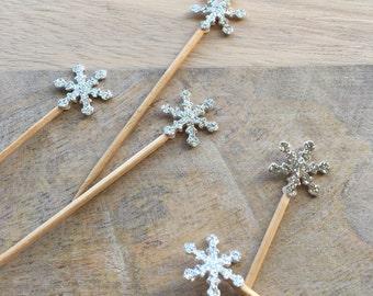 Silver Glitter Snowflake Food Picks // Snowflake Cupcake Toppers - Set of 24